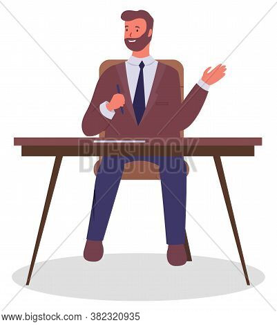 Office Worker At The Table With A Pen In Hand. Businessman Or A Clerk Working At His Office Workplac