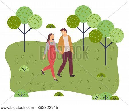 Couple Walking In A Park. Young Guy And Girl Holding Hands Walking In Garden, Weekend Walk. Friends