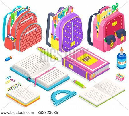 Schoolbag With Supplies For Classes Vector, Isolated Set Of Books And Pencils, Back To School Concep