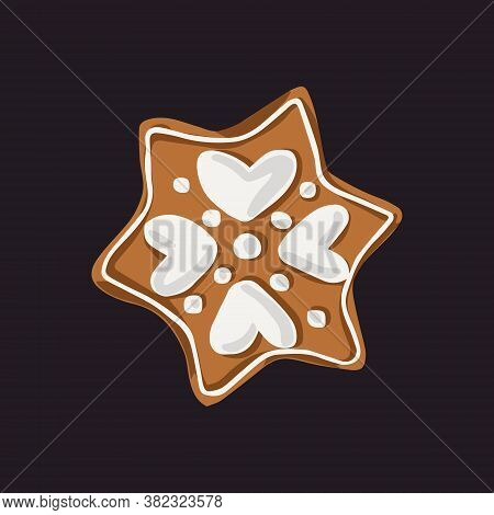 Snowflake-shaped Gingerbread Cookie With Hearts Icings. Vector Illustration.