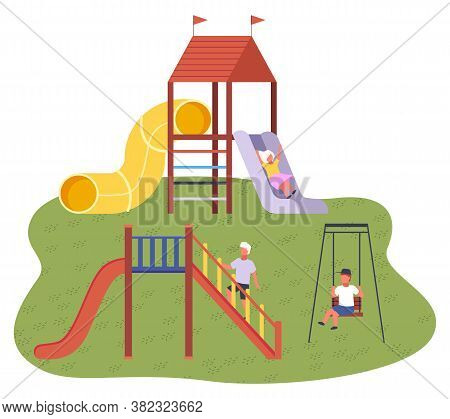 Cute Happy Cartoon Kids Playing In Playground On The Backyard. Children S Summer Playground With Sli