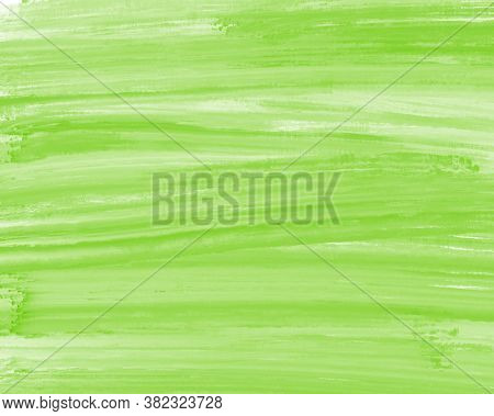 Gentle Lime Green Paint Streaks With Dry Brush. Horizontal Lineart Brush And Paint, Background Backd