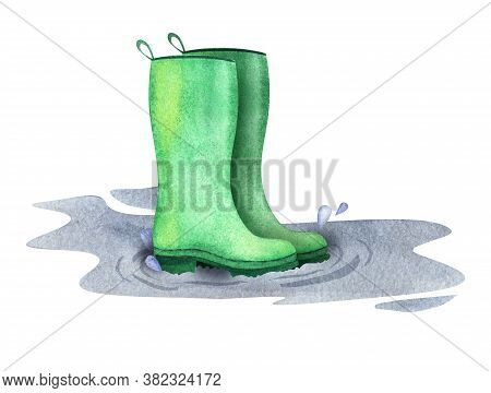 Watercolor Image Of Green Rubber Boots Standing Among Fall Puddle On White Background. Hand Drawn Au