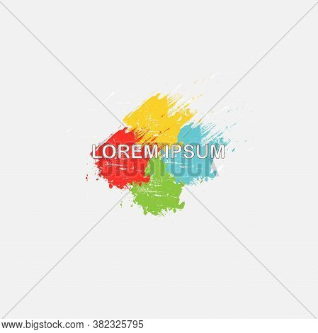 Logo For Company. Business Symbol Colorful Bright Blue Yellow Green Red, Lorem Ipsum On Light Grey