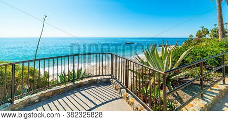 Balustrade By The Sea In Laguna Beach. California, Usa