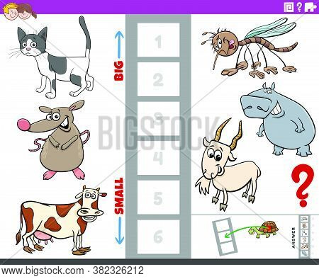 Cartoon Illustration Of Educational Game Of Finding The Bigest And The Smallest Animal Species With