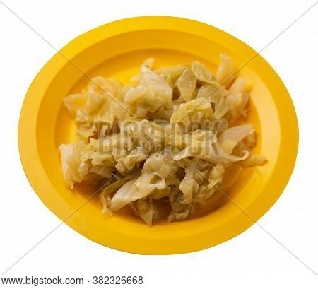Braised Cabbage In Yellow Plate Isolated On White Background. Braised Cabbage Top Side View .healthy