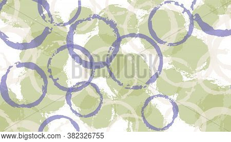 Colorful Painted Circles Geometry Fabric Print. Circular Blob Overlapping Elements Vector Seamless P