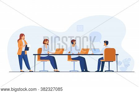 Young Operators Working In Call Center Isolated Flat Vector Illustration. Cartoon Administrator Hold