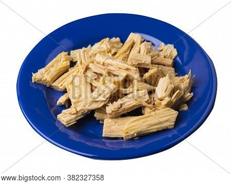 Soy Asparagus Noodles On Blue Plate, Isolated On A White Background. Healthy Food . Asian Food. Soy
