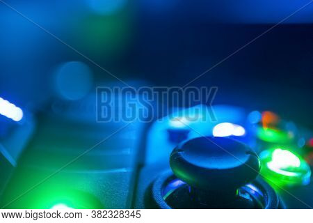 Extreme Close Up Of A Game Controller Right Stick With Rgb Lighting