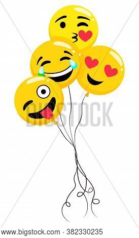 Emoticon Balloons With Facial Expressions Vector, Isolated Emoji With Smile On Face. Laughing And Ki