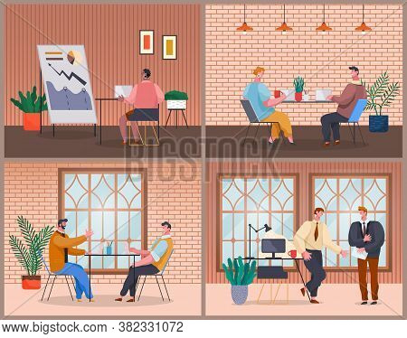 Set Of Office Staff, Work And Communication. Head And Subordinates. Various Workers, Managers Team.