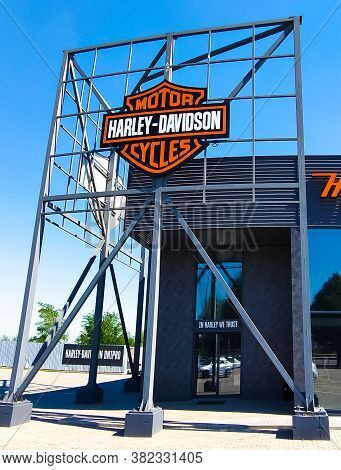 Kyiv, Ukraine - August 15, 2020: Harley-davidson Shop And Office. Harley-davidson, Or Harley, Is An