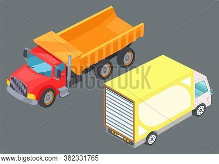 Two Colorful Lorry Trucks On Road. Motor Vehicles For Freight. Big Automobile For Fast Transportatio
