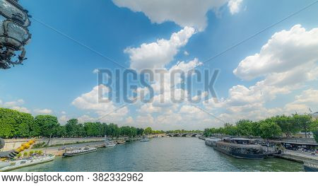 Clouds Over Seine River In Paris, France