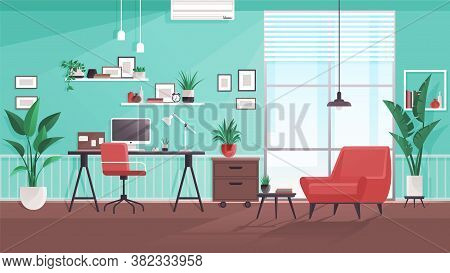 Workplace Modern Design. Office Studio, Cabinet Or Home Workspace Interior With Aquamarine Wall. Off