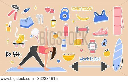 Sport Set Lifestyle Concept. Cute Girl Doing Exercises Trying To Keep Fit. Hand Drawn Funny Elements