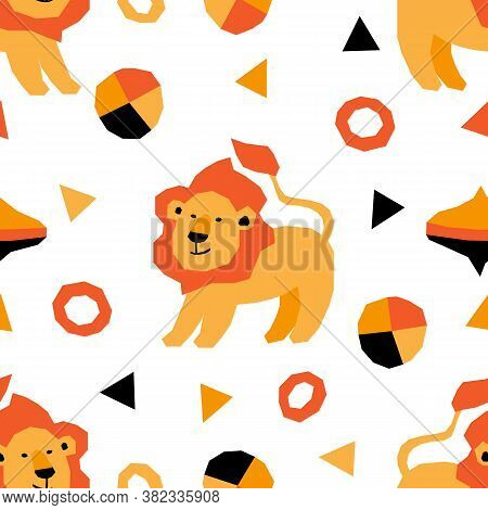 Seamless Pattern With Circus Animals In Geometric Style. Vector Illustration With African Lions. Kid
