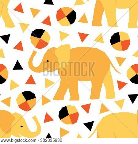 Seamless Pattern With Circus Animals In Geometric Style. Vector Illustration With African Elephants.