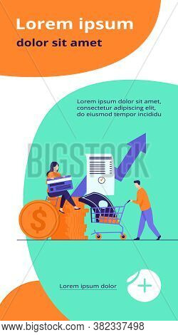 People Investing Their Money In Venture Fund Vector Illustration. Business People Financing High Pot