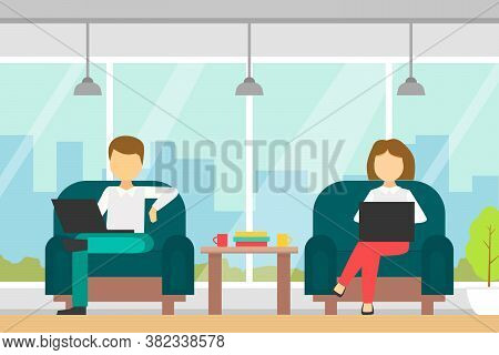 Coworking Space With People Sitting In Armchairs With Laptop Computers, Business Team Working Togeth