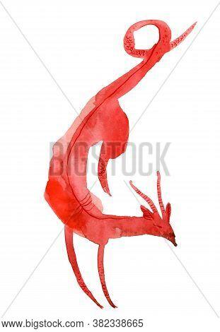 Mythological Dog. Red Hell Hound Isolated On White