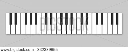 Piano Keys. Musical Instrument Keyboard Isolated On Gray Background. Vector Illustration.
