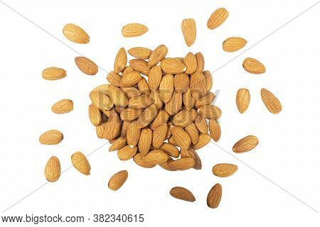 Almond Background Close Up Isolated On White Background.. Macro Shot Fresh Almonds Nuts Isolated Ove