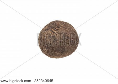 Macro Shot Dried Black Pepper Peas Isolated On A White Background With Clipping Path. Dried Black Pe