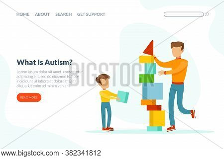 What Is Autism Landing Page Template, Cute Boy With Mental Disorder Building Tower Of Blocks With Fa