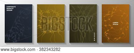 Biotechnology And Neuroscience Vector Covers With Neuron Cells Structure. Rounded Waves Network Back