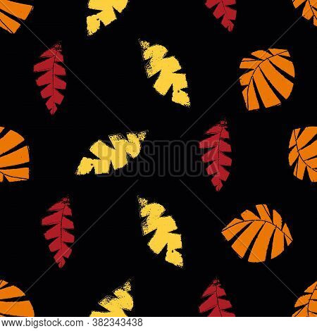 Mono Print Style Scattered Leaves Seamless Vector Pattern Background. Textured Cut Out Yellow, Red,