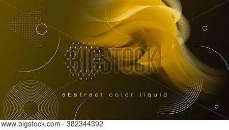 Fluid Poster Cover. Gold Digital Shape. Vector Creative Wallpaper. Flow Graphic Motion. Neon Fluid P