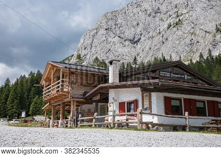 Sorgenti Piave, Italy - July 30, 2020: Mountain Lodge At The Source Of The River Piave