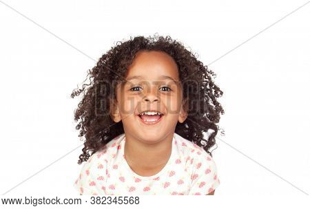 Adorable little girl with curly hair isolated on a white background