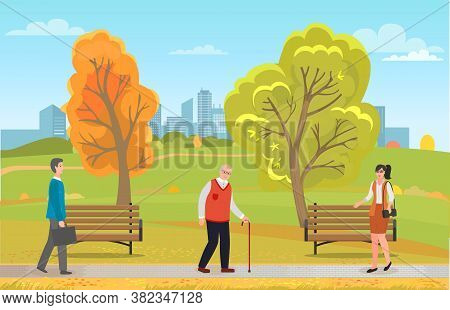 Different People Walking In Autumn Park Outdoors. Young Man With Case, Old Grey-haired Man With Walk