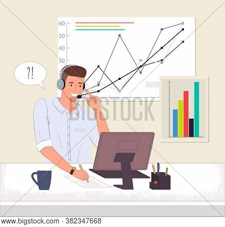 Male Operator Business Support Call Center Or Hotline. Man In Headphones Sits At A Computer And Chat