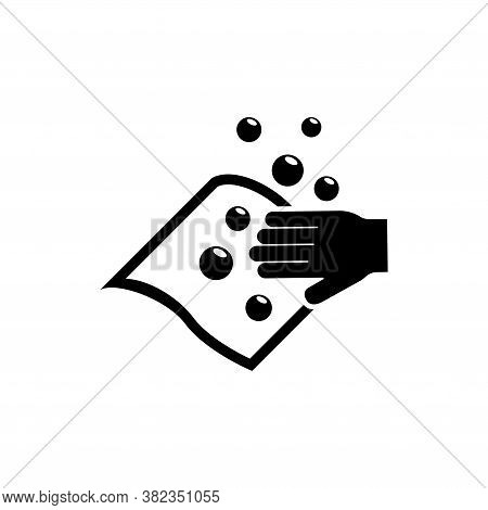 Hand Wiping With Cloth, Wet Wipe And Bubble. Flat Vector Icon Illustration. Simple Black Symbol On W