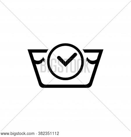 Washing Time. Laundry Basin And Stopwatch. Flat Vector Icon Illustration. Simple Black Symbol On Whi