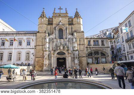 Coimbra, Portugal - November 15,2019:  Historic Santa Cruz Church In The Old Town