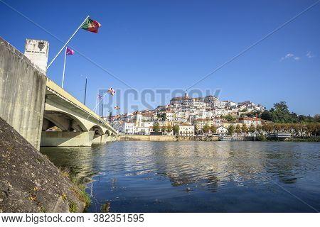 Coimbra Cityscape With Santa Clara Bridge Over Mondego River,  Portugal