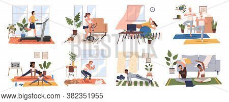 Sport Exercise At Home Scenes Set. Different People Doing Workout Indoor. Yoga And Fitness, Healthy