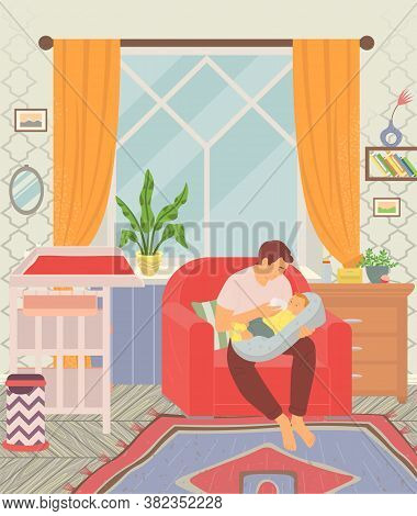 Father Feeding Son With Bottle Of Milk. Children Room With Furniture Like Baby Changing Table And Ar