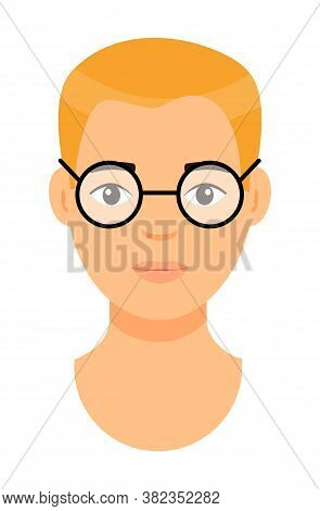 Cartoon Character In Glasses. Concept Of Avatar Of Young Man With Bad Eyesight. Isolated At White Ba