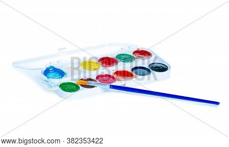 Watercolor Paints Palette With Paint Brush On White Background Isolation
