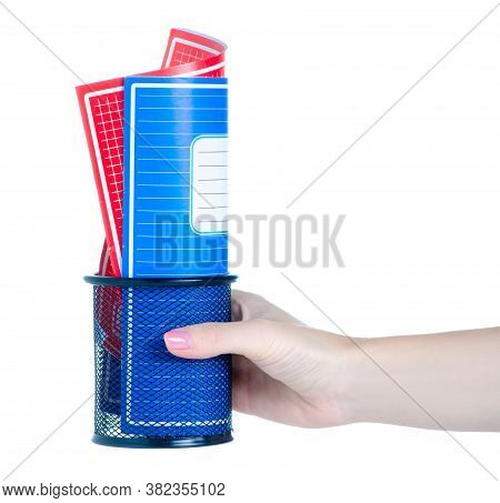 Hand Holding School Exercise Book In Stand On White Background Isolation
