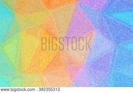 Abstract Illustration Of Blue, Green, Orange Color Pencil High Coverage Background.