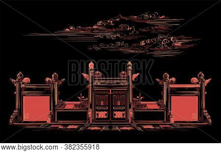 Lingxing Gates In Front Of The Temple Of Heaven In Beijing, Landmark Of China. Hand Drawn Vector Ske