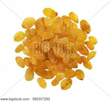 Top View Of Golden Raisins Isolated On White Background